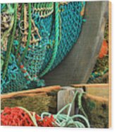 Fishing Net Portrait Wood Print
