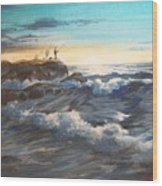 Fishing Off Point Judith R.i. Wood Print