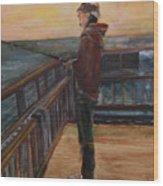 Fishing Off Sausalito Boardwalk Wood Print