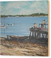 Fishing Off The Docks At Point Judith R.i. Wood Print