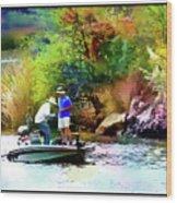 Fishing On Saguaro Lake In Arizona Wood Print