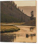 Fishing On Smokey Madison River Wood Print