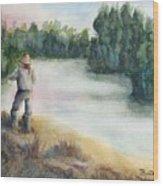 Fishing On The Banks Of The Churchill River, Sask, Ca Wood Print