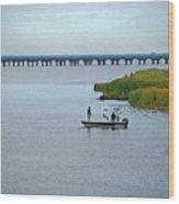 Fishing On The Flats Wood Print
