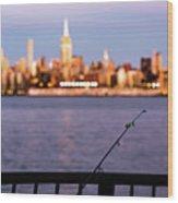 Fishing On The Hudson Wood Print