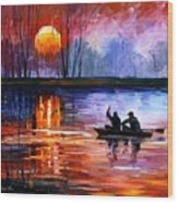 Fishing On The Lake  Wood Print