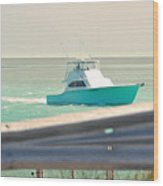 Fishing On The Sea  Wood Print