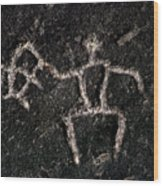 Fishing Petroglyph Wood Print