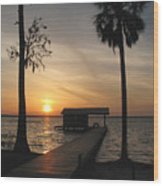 Fishing Pier At Dusk Wood Print