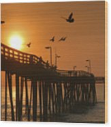 Fishing Pier At Sunrise Wood Print by Steven Ainsworth