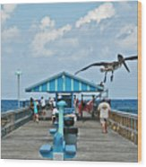Fishing Pier With Flying Pelican Wood Print