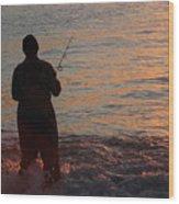 Fishing Reflections Wood Print