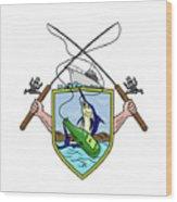 Fishing Rod Reel Blue Marlin Beer Bottle Coat Of Arms Drawing Wood Print