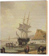 Fishing Scene, Teignmouth Beach And The Ness, 1831 Wood Print