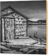 Fishing Shack And Wharf In Norris Point, Newfoundland Wood Print