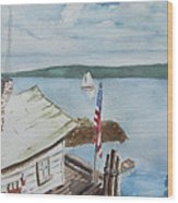 Fishing Shack With Old Glory Wood Print