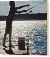 Fishing Silhouette Wood Print