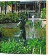 Fishing Statue Wood Print