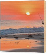 Fishing The Golden Dawn Wood Print