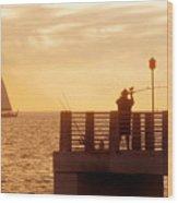 Fishing The Gulf Wood Print