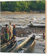 Fishing The River Magdalena Wood Print