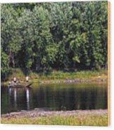 Fishing The St Croix Wood Print