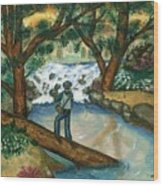 Fishing The Sunny River Wood Print