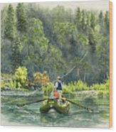 October Morning Fishing The Trinity River Wood Print