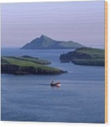 Fishing Trawler, Blasket Islands, Co Wood Print