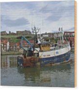 Fishing Trawler Wy 485 At Whitby Wood Print by Rod Johnson