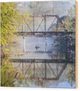 Fishing Under The Trestle Wood Print