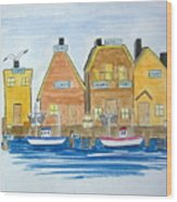 Fishing Village 3 Wood Print