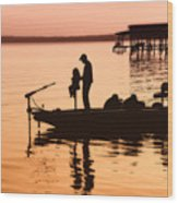 Fishing With Daddy Wood Print by Bonnie Barry