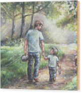 Fishing With My Dad  Wood Print by Laurie Shanholtzer