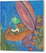 Fishing With Rose Marie Wood Print