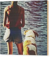 Fishing With The Pup Wood Print