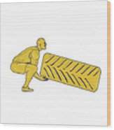 Fitness Athlete Squatting Lifting Tire Drawing Wood Print