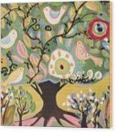Five Birds In Garden Tree Wood Print