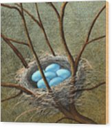 Five Blue Eggs Wood Print