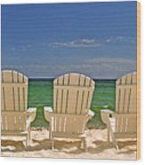 Five Chairs On The Beach Wood Print