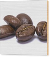 Five Coffee Beans Isolated On White Wood Print
