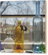 Five Colored Bottles Wood Print
