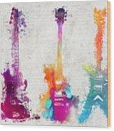 Five Colored Guitars Wood Print