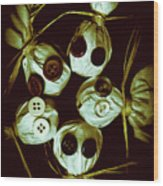 Five Halloween Dolls With Button Eyes Wood Print