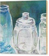 Five Jars In Window Wood Print