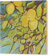 Five Lemons Wood Print by Jennifer Lommers