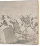 Five Men Pushing A Block Of Stone Wood Print