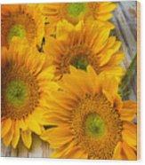 Five Moody Sunflowers Wood Print