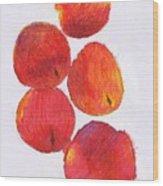 Five Nectarines  Wood Print