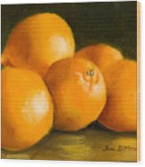 Five Oranges Wood Print